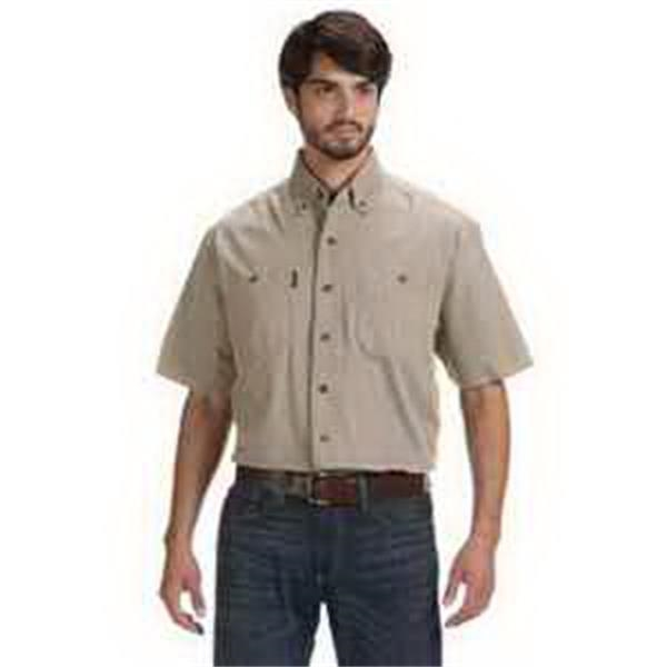 Dri Duck Men's Short-Sleeve Brick Workshirt. - Men's short-sleeve brick workshirt. Generous cut size. Four front-chest pockets. Blank.