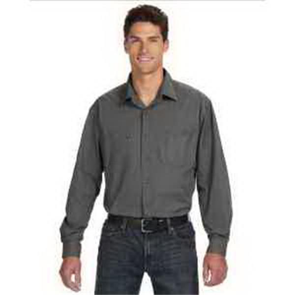 Dri Duck Men's Long-Sleeve Brick Workshirt. - Men's long-sleeve brick workshirt. Generous cut size. Four front-chest pockets. Adjustable cuffs. Blank.