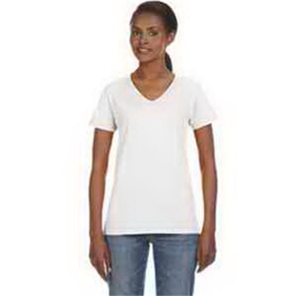 Anvil (R) Ladies' Ringspun V-Neck T-Shirt - Ladies' ringspun V-neck T-shirt. 100% preshrunk ringspun cotton. Missy contoured silhouette with sideseams. Blank.