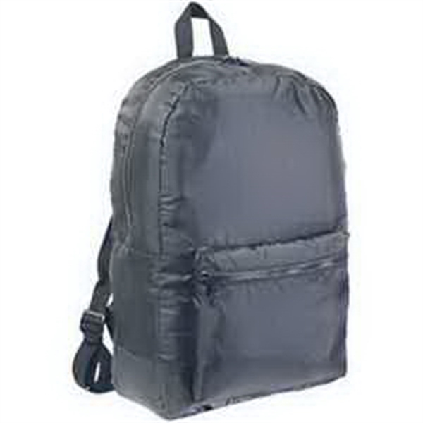 BAGedge Packable Backpack - Packable backpack. Folds into inside pocket with snap closure. Polyester webbing straps and handles. Blank.