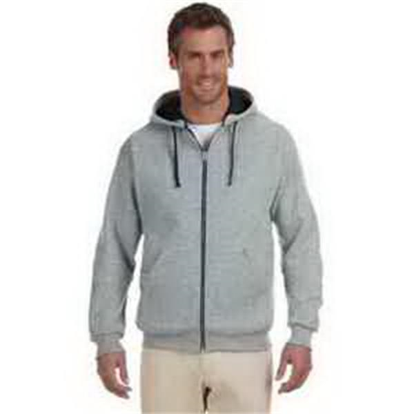 Jerzees (R) 8 oz 50/50 NuBlend (R) Contrast Full-Zip Hood - 8 oz contrast full zip hood. Contrasting hood lining, neck tape and flat drawcord. Two-ply lined hood. Blank.