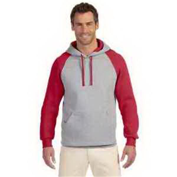 Jerzees (R) 8 oz 50/50 NuBlend (R) Colorblock Pullover Hood - 8 oz pullover hood. Colorblocked styling. Front pouch pocket. Front media pocket. Blank.