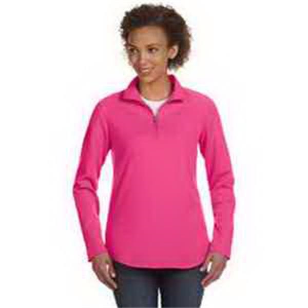 LAT Ladies' Quarter-Zip Pullover - Ladies' quarter-zip pullover. Taped neck. Double-needle hemmed sleeves and shirttail bottom. Blank.