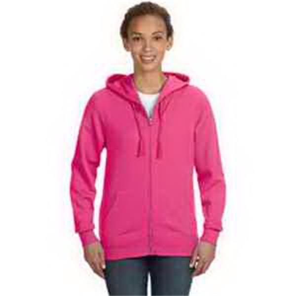 LAT Ladies' Full-Zip Hoodie - Ladies' full-zip hoodie. Front pouch pockets. Flatlock stitch pockets, cuffs and bottom band. Blank.