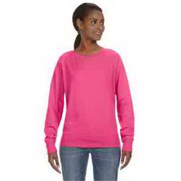 LAT Ladies' Slouchy Pullover - Ladies' slouchy pullover. Front V-patch. Taped neck. Flatlock stitch ribbed collar, cuffs and waistband. Blank.