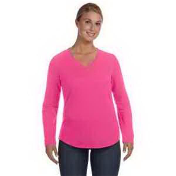 LAT Ladies' V-Neck Pullover - Ladies' V-neck pullover. Taped neck. Flatlock stitch miter V-neck and armholes. Blank.