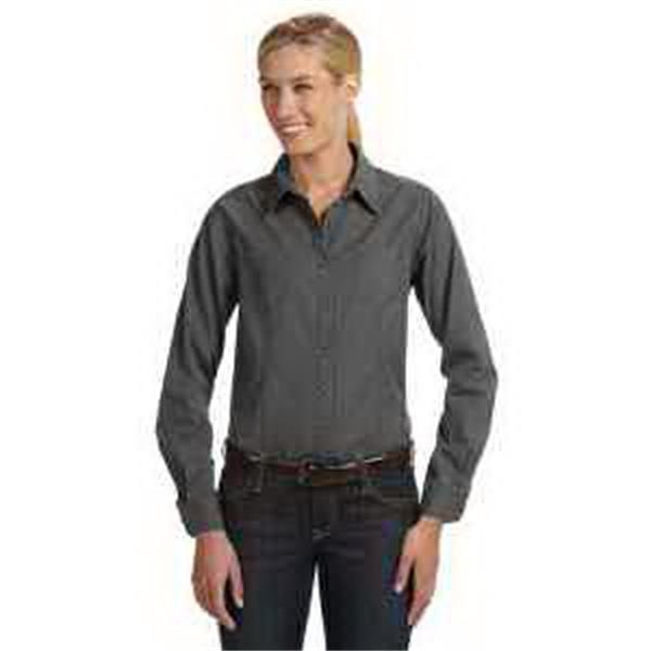 Dri Duck Ladies' Long-Sleeve Mortar Workshirt. - Ladies' long-sleeve mortar workshirt. Two front-chest pockets. Button tabs for quick sleeve adjustment. Blank.