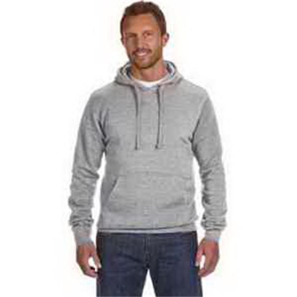J. America Cloud Pullover Fleece Hood - Pullover fleece hood. Jersey-lined hood with flat drawcord. Front pouch pocket. Blank.