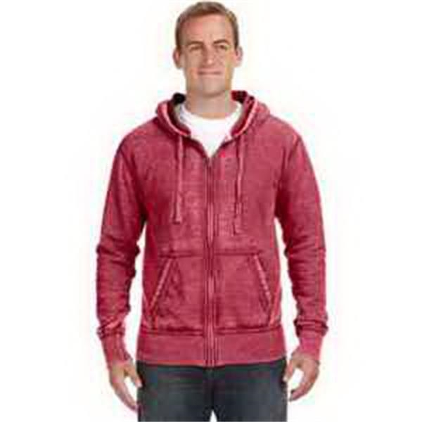 J. America Vintage Zen Full-Zip Fleece Hood - Vintage full-zip fleece hood. Hood with dyed-to-match drawcord. Front pouch pocket. Blank.