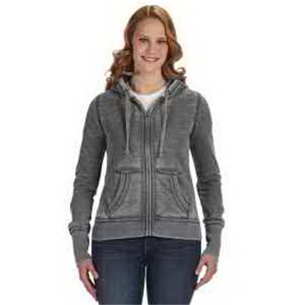 J. America Ladies' Zen Full-Zip Fleece Hood - Ladies' full-zip fleece hood. Hood with dyed-to-match drawcord. Extra long cuff length. Front pouch pockets. Blank.