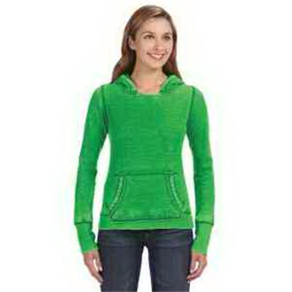 J. America Ladies' Zen Pullover Fleece Hood - Ladies' pullover fleece hood. No drawcord in hood. Cut open neck detail. Extra long cuff length. Blank.
