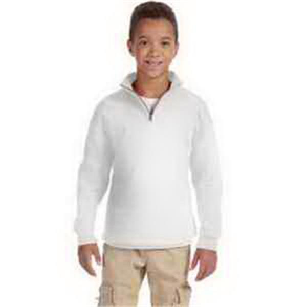 Youth 8 oz 50/50 NuBlend (R) 1/4 Zip Cadet Collar Sweatshirt - Youth 8 oz 1/4 zip cadet collar sweatshirt. Blank.