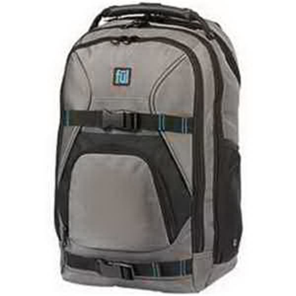 ful Alleyway Wild Fire Backpack - Backpack with quilted laptop sleeve. Tablet sleeve. Side elastic bottle pouch. Media pocket. Blank.