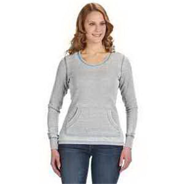 J. America Ladies' Zen Thermal Long-Sleeve T-Shirt - Ladies' zen thermal long-sleeve T-shirt. Rib cuffs and collar. Front V-notch and pouch pocket. Blank.
