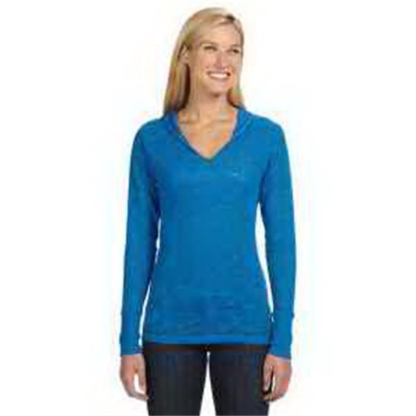 J. America Ladies' Jersey Burnout Hooded T-Shirt - Ladies' jersey burnout hooded T-shirt. V-neck with hood. Extended rib knit cuffs. Blank.