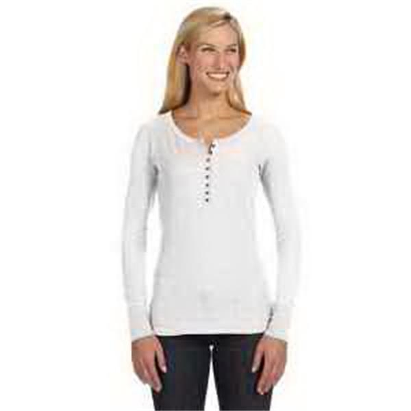 J. America Ladies' Thermal Henley - Ladies' thermal henley. Dyed-to-match eight-button placket. 1 x 1 rib knit collar and cuffs. Blank.
