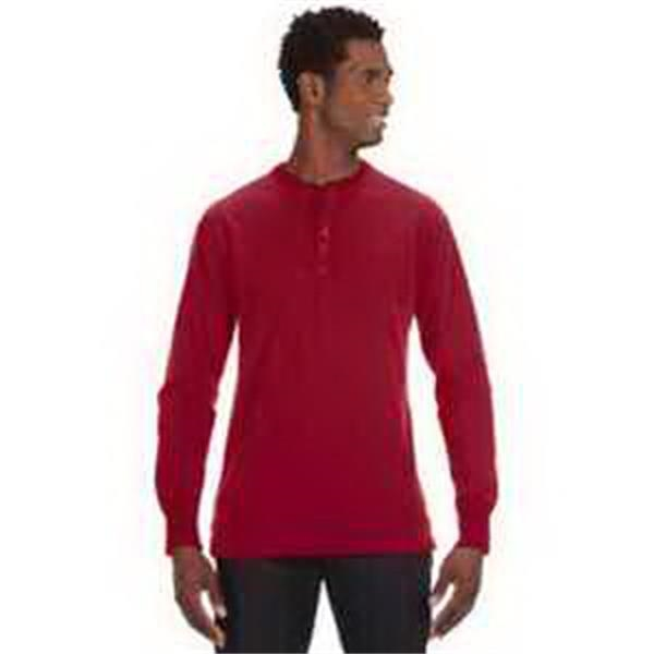 J. America Men's Vintage Brushed Jersey Henley - Mens' vintage brushed jersey henley. Four-button placket. 2 x 1 rib knit cuffs and collar. Blank.