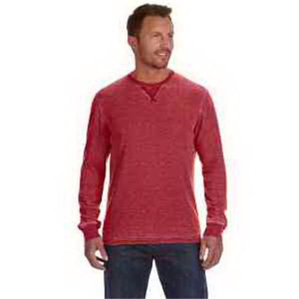 J. America Men's Vintage Zen Thermal Long-Sleeve T-Shirt - Mens' vintage zen thermal long-sleeve T-shirt. Rib cuffs and collar. Front V-notch. Blank.