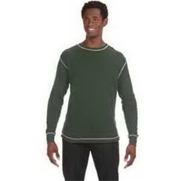 J. America Men's Vintage Long-Sleeve Thermal T-Shirt - Mens' vintage long-sleeve thermal T-shirt. Contrast flatlock stitching. 2 x 1 rib knit cuffs and collar. Blank.