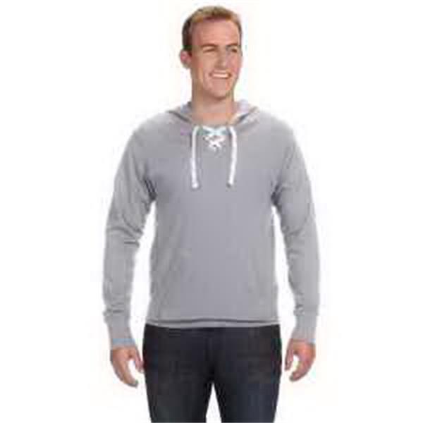 J. America Unisex Sport Lace Jersey Hood - Unisex sport lace jersey hood. Split front placket with six sewn eyelets. Front pouch pocket. Blank.