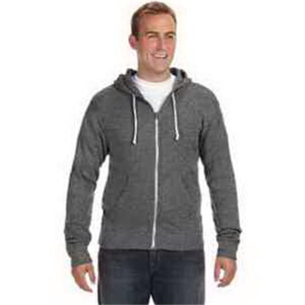 J. America Triblend Full-Zip Fleece Hood - Triblend full-zip fleece hood. Front pouch pocket. Coverstitching throughout. Off white flat drawcord. Blank.