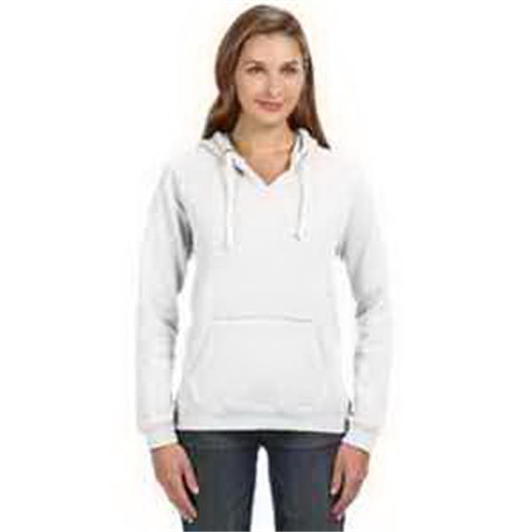 J. America Ladies' Sydney Brushed V-Neck Hood - Ladies' brushed V-neck hood. Hood with thick white drawcord. 2 x 1 rib knit cuffs and waistband. Blank.