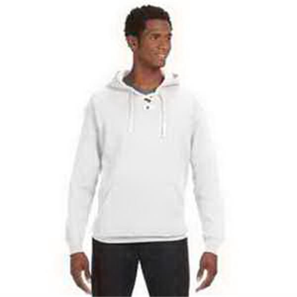J. America Sport Lace Hood - Sport lace hood. Jersey-lined three-piece hood. Split front placket with six sewn eyelets. Blank.