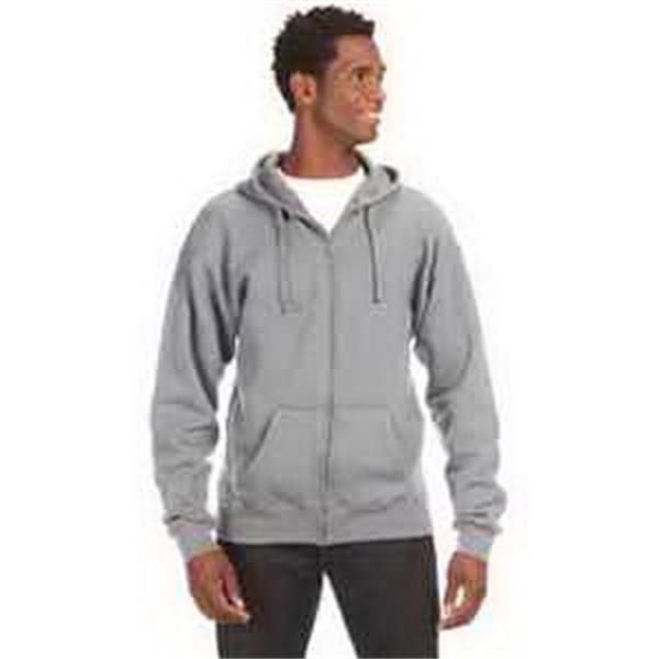 J. America Premium Full-Zip Fleece Hood - Premium full-zip fleece hood. Concealed front zipper. Spandex blend rib knit cuffs and waistband. Blank.