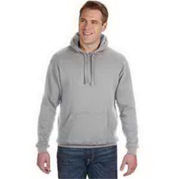 J. America Tailgate Fleece Pullover Hood - Fleece pullover hood. Built-in neoprene beverage holder inside, metal bottle opener attached to pouch pocket. Blank.