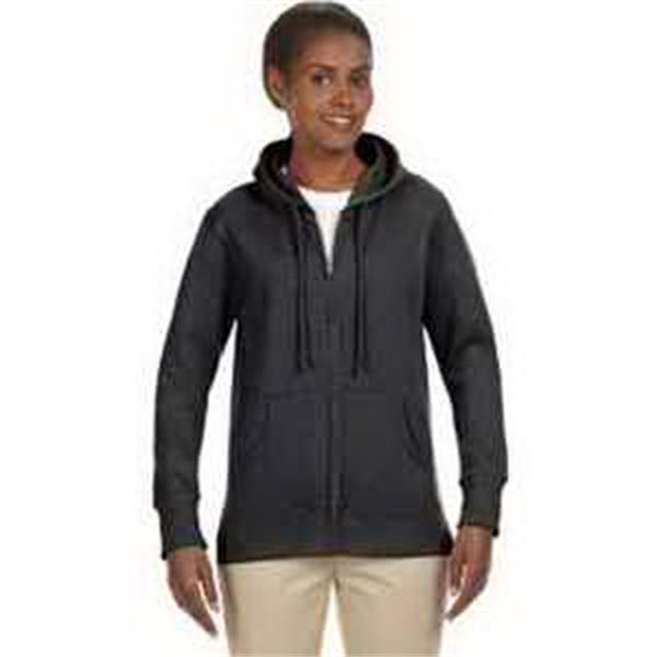 Econscious Ladies' Organic/Recycled Heathered Fleece Zip Hoo - 7 oz organic/recycled heathered fleece full zip hood. YKK brass zipper. Drawstring. Pouch pockets. Blank.