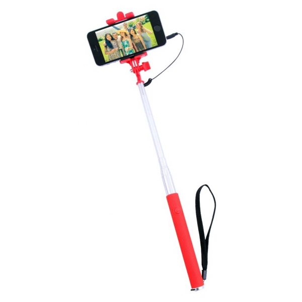 Econo-Selfie Stick - Simply plug the 3.5mm audio jack into your smartphone and press the button located on the handle.