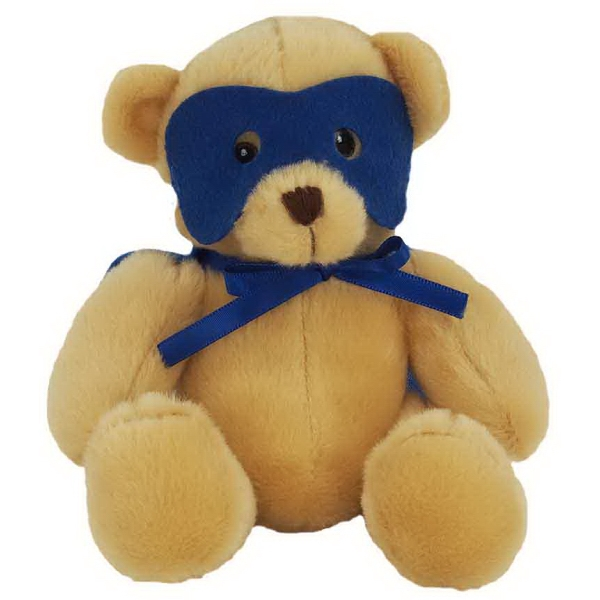 "6"" Super Hero Bear with Blue Mask and Cape"