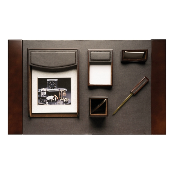 6 Piece Desk Set - Genuine wood and brown leather 6 piece desk accessory set.