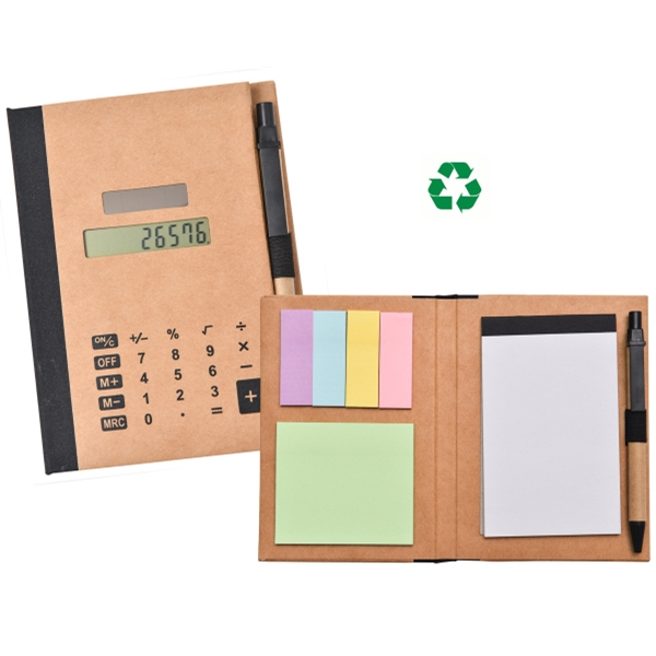 Recycled Solar Calculator with Pen, Notepad, & Flags