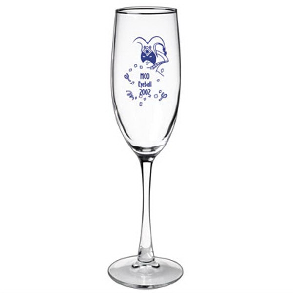Cocktail 8 oz. champagne flute glass with thin clear stem