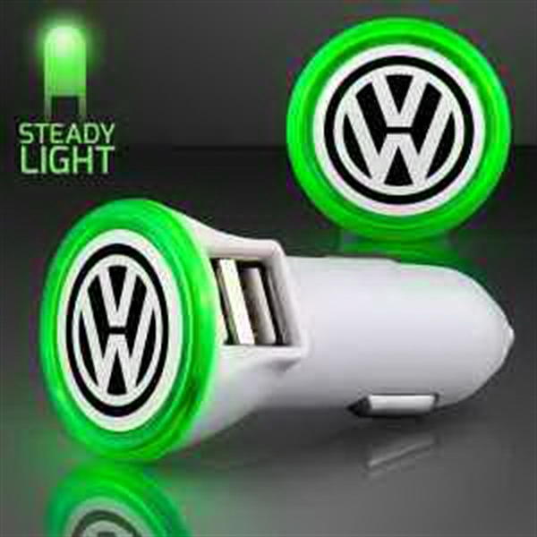 Green LED Car Charger USB Port
