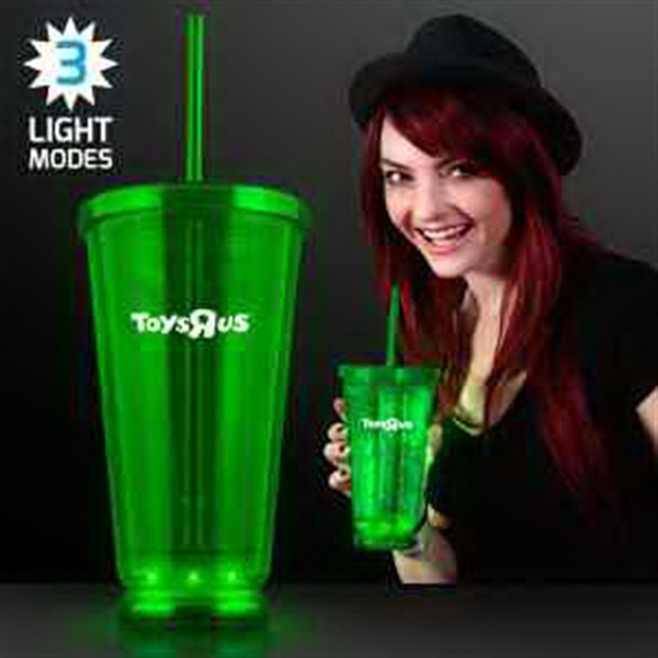 Light Up Green Deluxe Double Wall Tumblers
