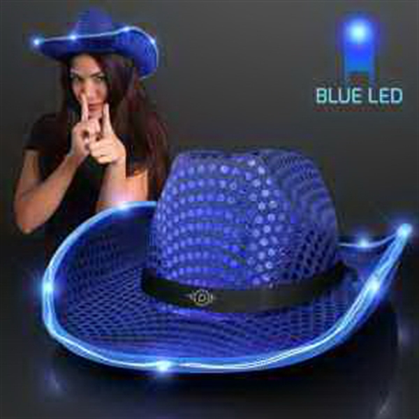 Blue Sequin Cowboy Hat
