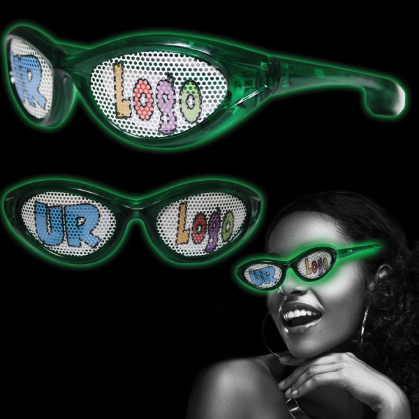 Green Custom LED Billboard Sunglasses