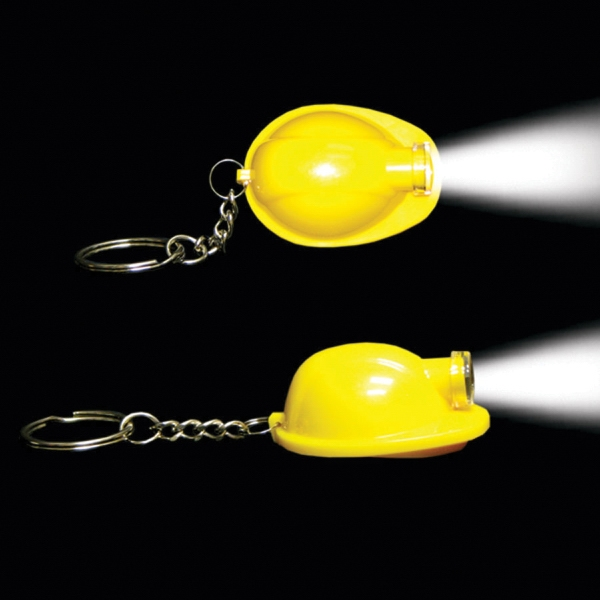 Yellow Safety Helmet Flashlight Light Up LED Glow Keychain