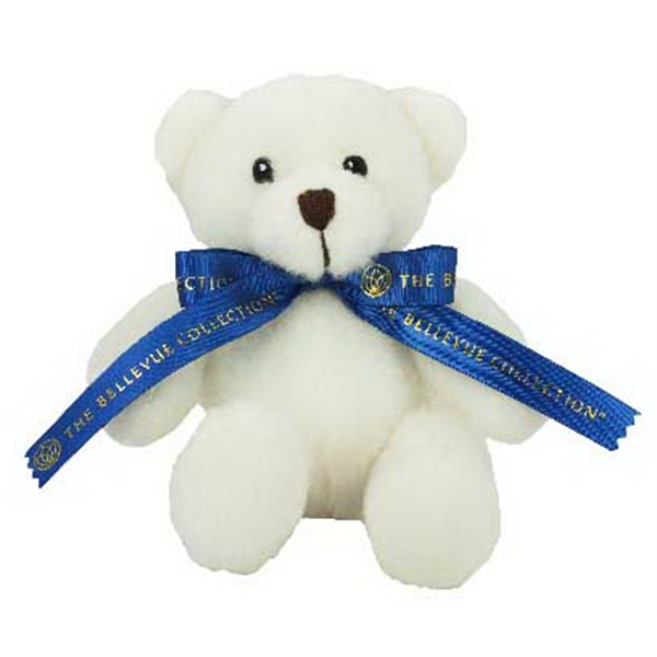 "6"" White Sugar Bear with ribbon and one color imprint"