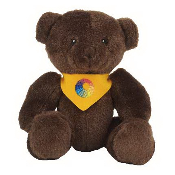 "6"" Brown Cocoa Bear with bandana and full color imprint"