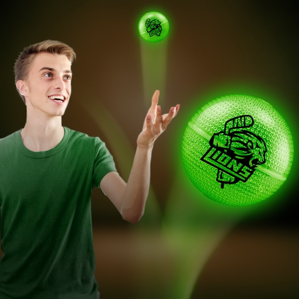 Green Glow Bounce Ball - Our green glowing bounce ball makes a great and fun promotional product!