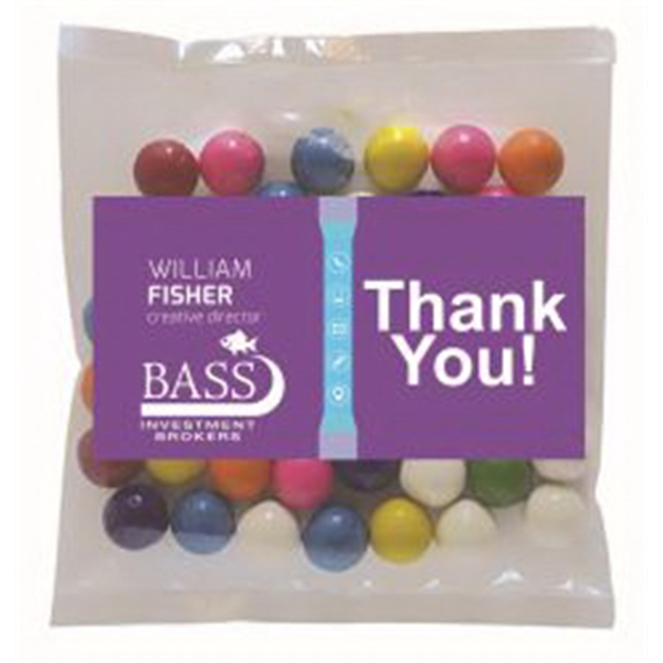 Business Card Magnet w/Small Bag of Gumballs