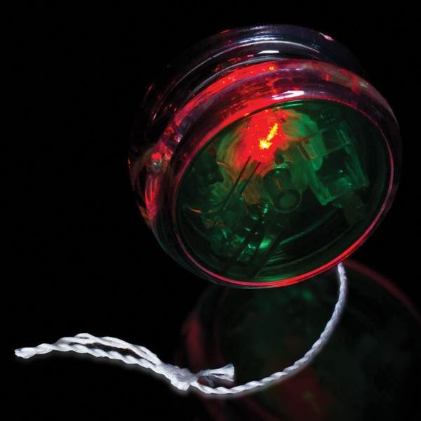 "Green & Clear 2 3/8"" Light Up Red Glow LED Yo-Yo"