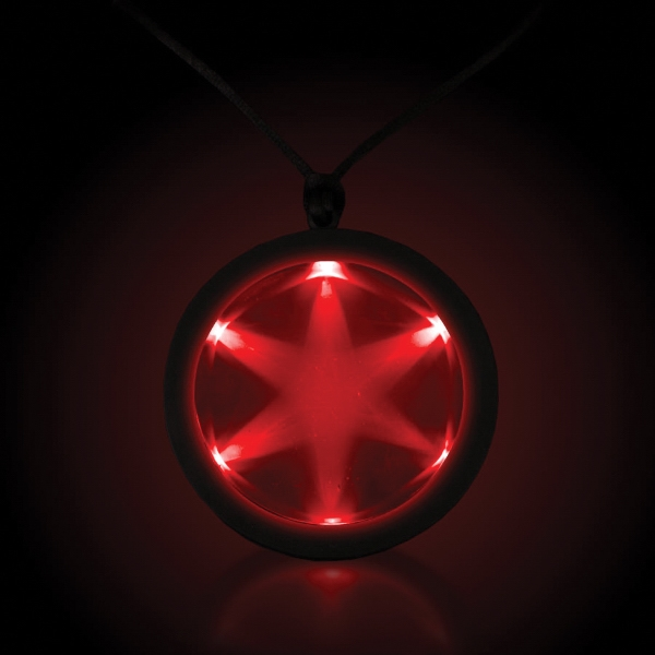 """Red 2 1/4"""" Fusion LED Glow Light Up Badge with Necklace"""