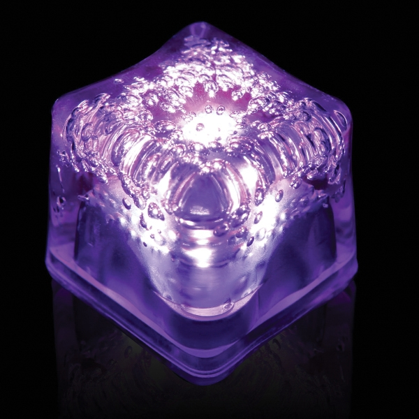Purple Light Up Premium LitedIce Brand Ice Cube, Blank