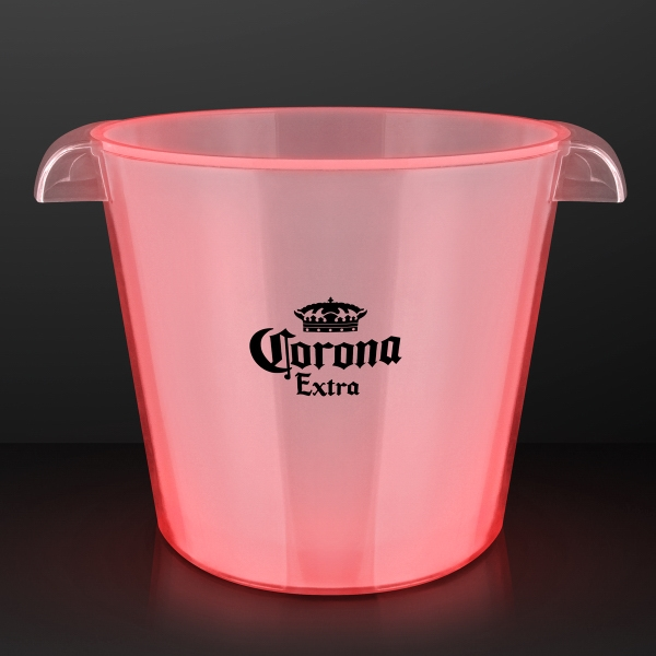 LED Red Light Up Buckets, Fits 6 Cans On Ice