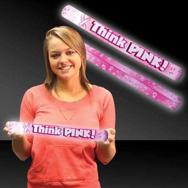 """16"""" Think Pink Ribbon Light Up LED Glow Lumiton"""