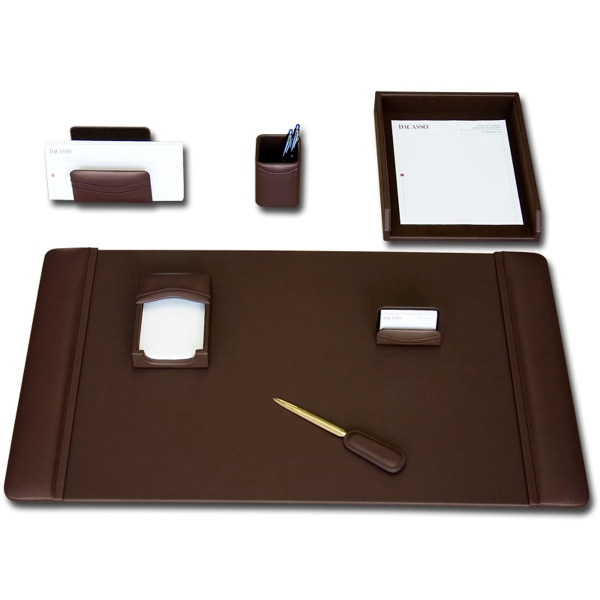 7-Piece Classic Chocolate Brown Leather Desk Set